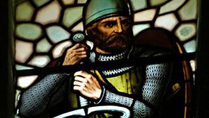 A stained-glass window depicting William Wallace.