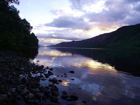 Loch Ness from Aldourie shoreline, near Inverness, Scotland.