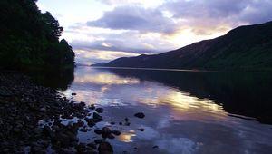 Loch Ness from Aldourie shoreline, near Inverness, Scotland.
