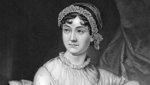 Jane Austen (1775-1817) on engraving from 1873. English novelist. Engraved by unknown artist and published in \'\'Portrait Gallery of Eminent Men and Women with Biographies\'\',USA,1873.