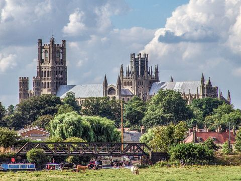 Ely Cathedral: Close to where Celia\'s horse\'s feet could scarcely stand\' as she crossed the Sands of Dee.