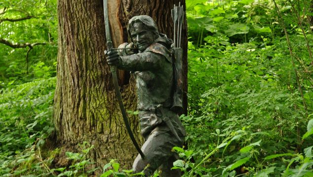 A statue of Robin Hood in Sherwood Forest.