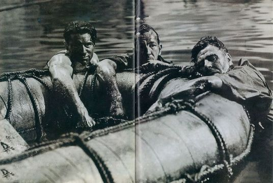 In Which We Serve: John Mills, Noel Coward. and Bernard Miles re-create a dramatic moment in the sinking of HMS Kelly, an actual event upon which the (mostty) historical film was based.
