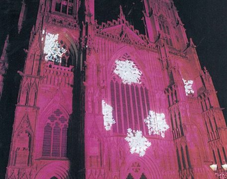 The facade of York Minster provides a medieval backdrop for a high-tech Christmas light show.