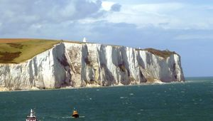 White cliffs of Dover viewed from cross channel ferry, Kent, England, United Kingdom