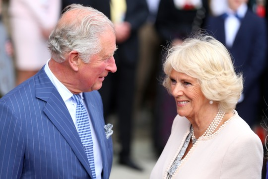 Prince Charles, Prince of Wales and Camilla, Duchess of Cornwall smile during a visit to the Residenz at Max-Joseph-Platz on May 09, 2019 in Munich, Germany. Their Royal Highnesses are paying an official visit to Germany at the request of the British government.