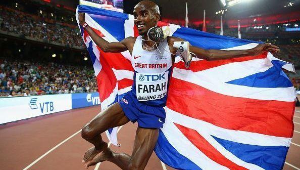 Mo Farah celebrates a win