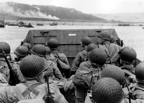 An iconic photo of World War II Allied forces arriving to Normandy, on D Day