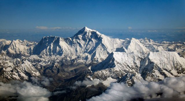 View northward of Mount Everest from an aircraft.