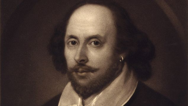 This 1849 vintage print features the portrait of William Shakespeare.