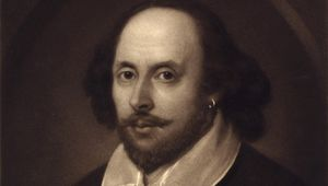 Thumb this 1849 vintage print features the portrait of william shakespeare.