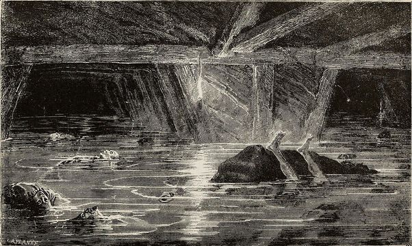 An illustration of the Tynewydd Colliery disaster, at Porth, in 1877.