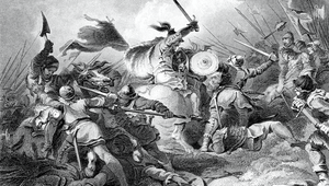 Engraving From 1882 Of The Battle Of Hastings Between The French And English Armies Of 1066.