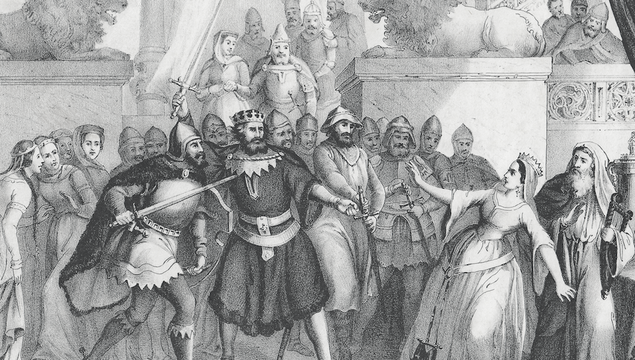 At the court of King Alfred of England (848/849 - 899). Lithograph from my archive, published in 1852.