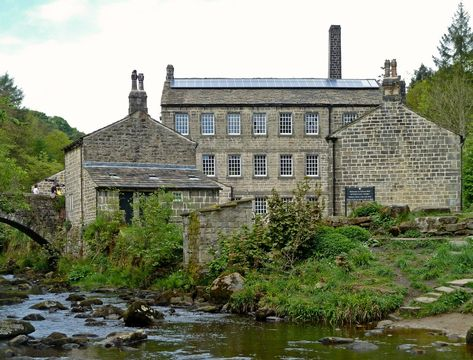 Gibson Mill, a 19th-century former cotton mill, in secluded woodland at Hardcastle Crags, near Hebden Bridge, West Yorkshire, England.