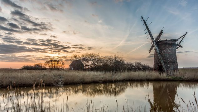 The Fens: Brograve mill at sunset in Norfolk