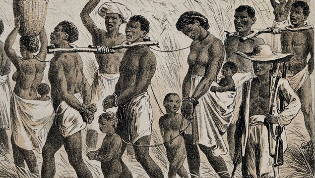 Men and women in Africa captured into slavery.