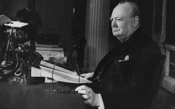British politician Winston Churchill (1874 - 1965).