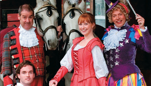 Cinderella and Prince Charming are joined by Fairy May and Baron Hard Up outside Edinburgh's King's Theatre, celebrating last year's production of the pantomime classic. Like all great pantos, the tale is badly fractured