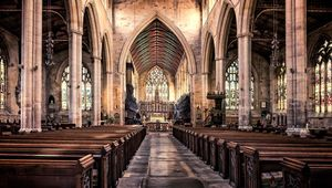 The nave and chancel of St Botolph\'s church in Boston Lincolnshire.The church is commonly known as Boston Stump