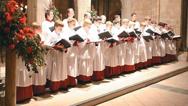 As in churches all over England, these choristers at Chichester Cathedral rehearse sacred carols, some of which have been sung here for centuries.