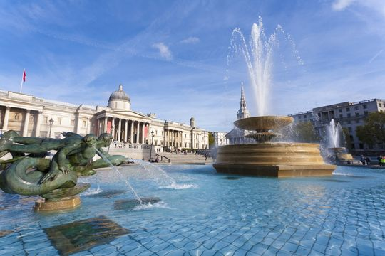 The National Gallery on Trafalgar Square, in London.