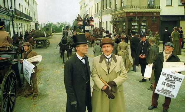 A promo shot for the latests reincarnation of Sherlock Holmes, in 1984, by Granada TV.