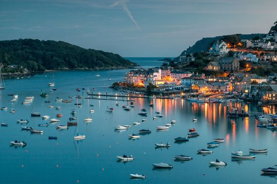 Salcombe Harbor in Devon, taken just after sunset on a summer\'s evening