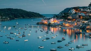 Salcombe Harbor in Devon, taken just after sunset on a summer\'s evening.