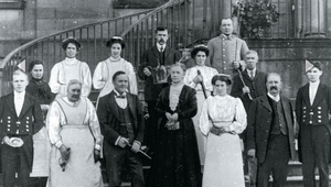 Here at Erddig near the market town of Wrexham (pictured below left), the serving staff photographed in 1912 included gardeners, housemaids, footmen, butler, cook, laundress, housekeeper and the estate foreman.