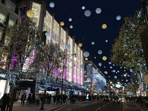 Oxford Street, London, during Christmas 2016.