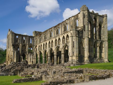 The remains of Rievaulx Abbey, a former Cistercian abbey near Helmsley in the North York Moors National Park, North Yorkshire, England
