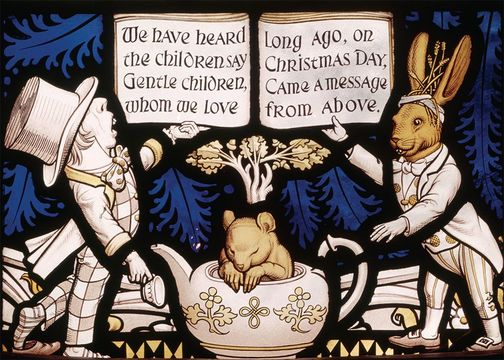 The Lewis Carroll Memorial Window at All Saints Church, Daresbury, is better known as the Alice Window.