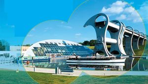 Connecting the Union Canal with the Forth & Clyde Canal, the unique Falkirk Wheel draws half a million visitors a year.