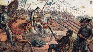A painting of The Battle of Hastings and the Death of King Harold.