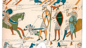Vintage engraving showing a detail of the Bayeux Tapestry, the Battle of Hastings and the Death of King Harold