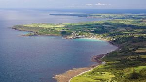 This aerial view of the Lizard looks south past Coverack toward Black Head and Lizard Point.