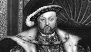 Circa 1540, A portrait of King Henry VIII (1491 - 1547), an engraving by T A Dean from a painting by Holbein.