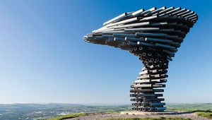 Thumb the singing ringing tree rises deep in the moors near burnley. jim hargan