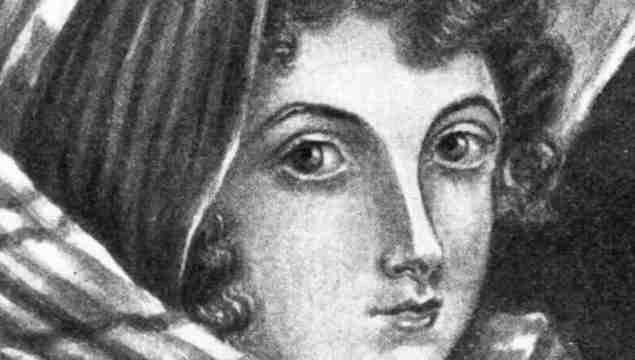Circa 1835: English poet and author of \'Wuthering Heights\', Emily Bronte (1818 - 1848). Original artwork painted by Charlotte Bronte.