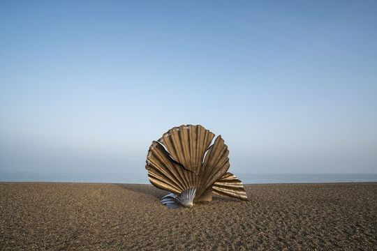 Sculpture on beach - stock photo