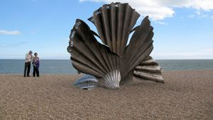 Maggi Hambling\'s Scallop Shell sculpture on the beach north of Aldeburgh in Suffolk.