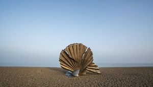 Sculpture on beach.
