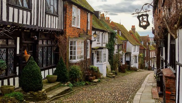 Mermaid Street in the Cinque Port town of Rye in East Sussex, UK