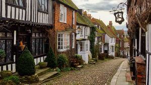 Mermaid Street in the Cinque Port town of Rye in East Sussex, UK