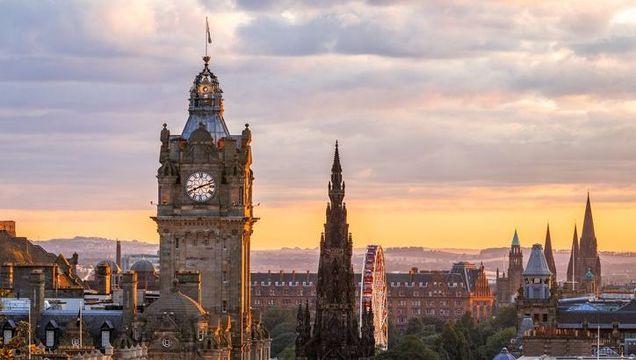 Edinburgh Skyline, Balmoral Clocktower, Scotland.
