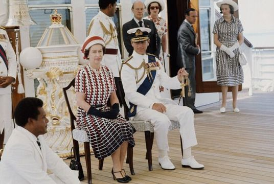 Queen Elizabeth II and Prince Philip on the Royal Britannia.