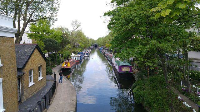 Regent\'s Canal as seen near Little Venice, London.