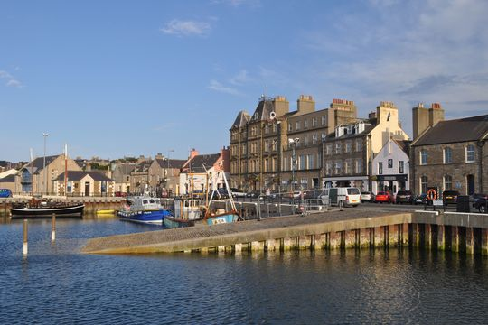Kirkwall Harbour, in Orkney.