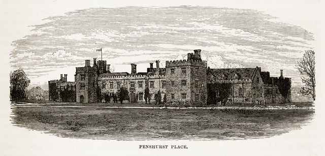 Very Rare, Beautifully Illustrated Antique Engraving of Penshurst Place, in Penshurst, England Landmarks Victorian Engraving, 1840 from Our Own Country, Great Britain, Descriptive, Historical, Pictorial. Published in 1880.